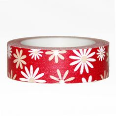 Washi Tape - Daisies on Red