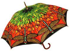 Colorful Tiffany Inspired Dragonfly Umbrella