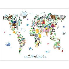 Animal Map of the World for Children and Kids, Canvas and Art Print