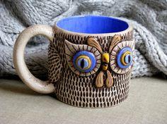 OOAK OWL MUG Large Ceramic  Entirely Handmade by adameveproject, $39.00