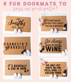 6 Fun Doormats to Sass Up Your Patio, Porch or Front Door – Fox and Clover Front porch decor can be fun and inviting. These doormats make a GREAT GIFT IDEA too! Front Door Mats, Special Gifts For Her, Valentines Day Gifts For Her, Personalized Door Mats, Anniversary Gift For Her, Cricut Creations, Diy Gifts, Unique Gifts, Porch Decorating