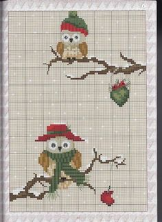 Christmas- owls in snow (bbj5012) graph only 1/2