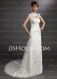 Wedding Dresses - $195.99 - A-Line/Princess Strapless Court Train Satin Tulle Wedding Dress With Lace Beadwork (002000178) http://jjshouse.com/A-Line-Princess-Strapless-Court-Train-Satin-Tulle-Wedding-Dress-With-Lace-Beadwork-002000178-g178