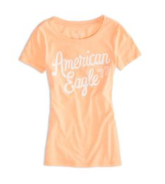 Neon Orange AEO Factory Graphic T-Shirt