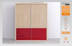 Armario dos puertas correderas con detalle en las puertas color rojo.
