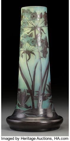Emile Galle - Overlay Glass Paper Whites Vase. Circa 1900. Cameo Galle signature. Ht. 12-7/8 inches. Estimate $ 750