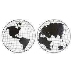 2 déco murales globes mappemonde en métal noir | Maisons du Monde