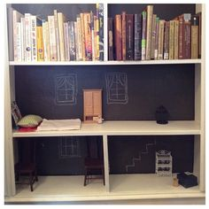 doll house book case idea by Betony Coons! genius!