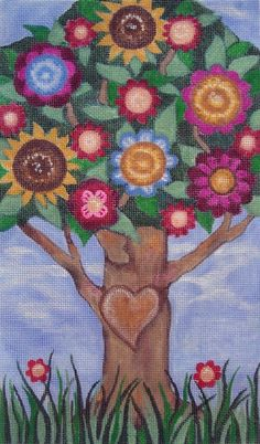 TREE OF LIFE Handpainted Needlepoint Canvas Floral by JEllisonArt