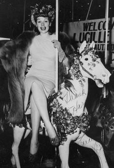lucille ball on a carousel horse!