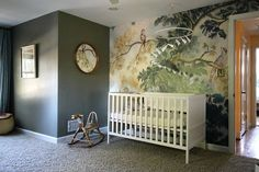 Gorgeous nursery, Anthropologie wallpaper @claireboeshaar