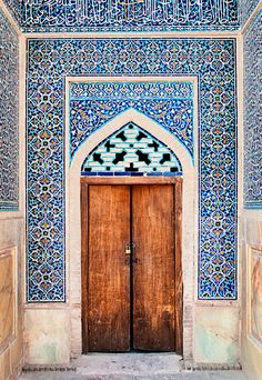 "Mysterious doors which inspire to create your own COCOON byCOCOON.com – ""In oneself lies the whole world and if you know how to look and learn, the door is there and the key is in your hand""  <Moroccan tiled doorway> #COCOON Dutch Designer Brand"