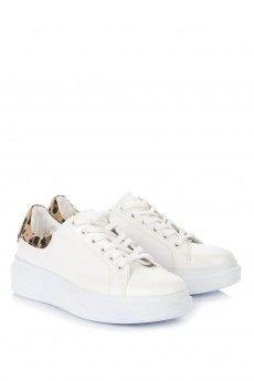 Casavie - Mira Leopar Detaylı Beyaz Spor Ayakkabı