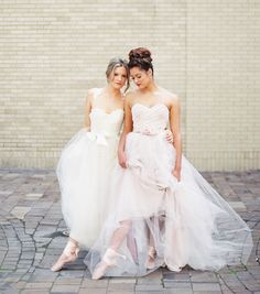 Ballet-inspired tulle wedding dresses