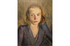An oil painting, Edward Douglas Eade, Portrait of Blonde Young Woman, attributed en verso, origin