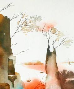 Эти деревья прекрасны. Пластика их линий сформирована солнцемветромводой... Они не сопротивляютсяони гармоничным в своём существовании. Доброго вечера вамдорогие. акварельтушь. #watercolor #artblog #artkonovalova #artwork #painting #sketch #waterblog #illustration #акварель #иллюстрация #графика #природа #nature