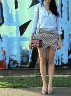 Summer Outfit Inspiration - Zara Skort, Topshop Shirt, Chanel Mini Flap