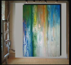 Giant 62x44 landscape abstract painting on canvas by Elsisygallery, $169.00