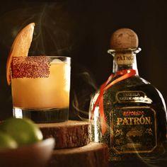 Smoky Margarita: The Smoked Mangonada Margarita by Stephen Halpin. Tequila Drinks, Cocktails, National Margarita Day, Patron Tequila, Lime Salt, Mango Puree, Chili Lime, Fresh Lemon Juice, New Recipes