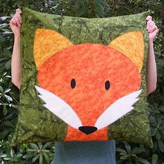e52e7b1b26ddd Giant applique Fox pillow from the Think BIG Giant Applique Class from Shiny  Happy World Applique