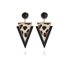 Black leopard print triangle drop earrings - earrings - jewellery - women