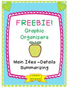 FREEBIE! Your kids will have fun mastering main idea, details and summarizing with these graphic organizers. Great to use with any text.