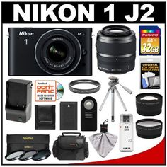 Nikon 1 J2 Digital Camera Body with 10-30mm & 30-110mm VR Lens (Black) with 32GB Card + Case + Battery & Charger + Filters + Tripod + Remote + Wide-Angle & Telephoto Lenses + Accessory Kit by Nikon. $739.95. Kit includes:♦ 1) Nikon 1 J2 Digital Camera Body with 10-30mm VR Lens (Black)♦ 2) Nikon 1 30-110mm f/3.8-5.6 VR Nikkor Lens (Black)♦ 3) Transcend 32GB SecureDigital Class 10 (SDHC) Ultra-High-Speed Card♦ 4) Spare EN-EL20 Battery for Nikon♦ 5) Battery Charger for Nik...