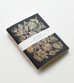 Gold Foil Pocket Notebook #luvocracy #graphicdesign #illustration #floral #journal