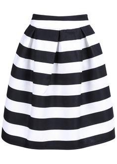 Black Striped Knee Length Skirt