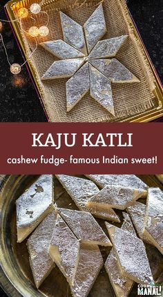 Kaju Katli is a sweet made out of cashews. It's often made during the festivals of Diwali and Holi and is one of the most popular Indian sweet! Indian Dessert Recipes, Indian Sweets, Sweets Recipes, Indian Recipes, Candy Recipes, Diwali And Holi, Diwali Food, Diwali Snacks, Indian Desert