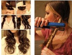 We all love that curly hair look, but it can sure be time consuming. Achieve a messy curl look using just your hair straightener and some hair spray! Curled Hairstyles, Pretty Hairstyles, Easy Hairstyles, Wedding Hairstyles, Updo Hairstyle, Ladies Hairstyles, Coiffure Hair, Tips Belleza, About Hair