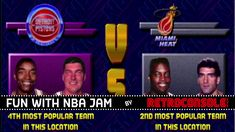 Nba Jam, Team 2, Detroit Pistons, Miami Heat, Arcade Games, Gaming, Retro, Videos, Youtube