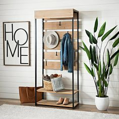 Create your own entryway storage with our Wood and Metal Drop Zone Entry Shelf! Its storage shelves and hooks make it easy to keep your accessories tucked away. Entryway Storage, Entryway Furniture, Rustic Furniture, Entryway Decor, Diy Furniture, Antique Furniture, Modern Furniture, Furniture Online, Wood Shelves