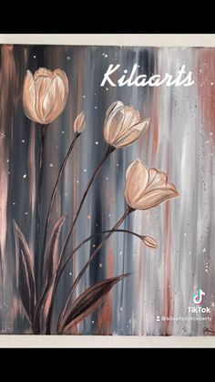 Flower Painting Canvas, Canvas Painting Tutorials, Diy Canvas Art, Painting Techniques, Tulip Painting, Flower Art Drawing, Original Paintings, Etsy, Videos
