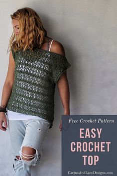 Learn how to make an Easy Crochet tee with this beginner friendly Free crochet pattern! # easy crochet clothes Easy Crochet Top~ The Ivy Tee~ Free Pattern ~ Cactus & Lace Designs Crochet Cardigan Pattern, Crochet Blouse, Knit Crochet, Crotchet, Crochet Waistcoat, Crochet Style, Crochet Summer Tops, Crochet Tops, Crochet Womens Tops