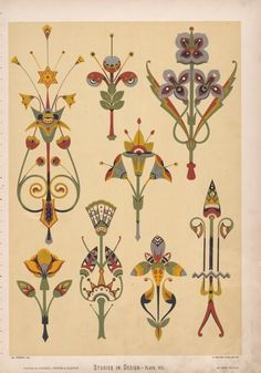 Diaper patterns founded on flowers, These are suitable for stencilling on the walls of rooms. [...]