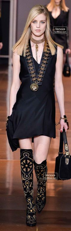 Back To Black! Black Dress LBD Designer Fashion Trends Runway Style Versace Fall 2014 Gold Accessories