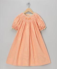 Take a look at this Orange Pumpkin Gingham Bishop Dress - Toddler & Girls on zulily today!