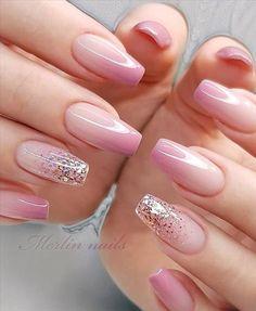 Gel Nail Art Designs, French Nail Designs, Nails Design, Beautiful Nail Designs, Cute Nails, Pretty Nails, Pink Ombre Nails, Glow Nails, Nagel Bling