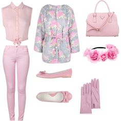 """""""Day out"""" by katyplayll on Polyvore http://getthelooks.com.au/belted-floral-fur-coat"""