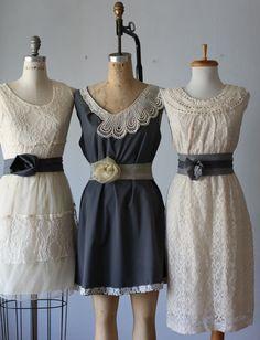 mismatched bridesmaid dresses / Bridesmaid / Romantic / gray /lace /vintage  / Fairy / Dreamy / Bridesmaid / Party / wedding / Bride on Etsy, $110.00
