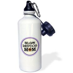 3dRose Belgian Sheepdog Mom - Sheep dog - doggie mama by breed - paw print mum doggy lover proud pet owner, Sports Water Bottle, 21oz