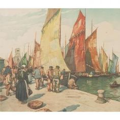 Tavik Frantisek Simon, Bateaux à Concarneau Šimon's style was strongly influenced by the French Impressionists and, perhaps through them, by Japanese printmaking techniques, in particular color aquatints with soft ground etching.