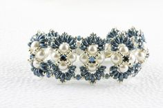 Superduo and Pearl Bracelet by NordicJewelryDesigns on Etsy