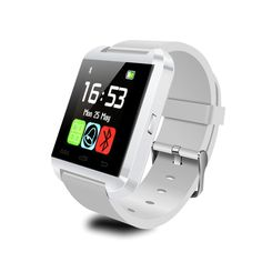 Bluetooth4.0 Smart Wristwatch Phone Mate for Android IOS Samsung Iphone White. 1. Music Play: play the music in your phone 2. Dial and answer calls 3. Sync phone book and call records, display the number and name of calls. 4. Ringing reminder when you get an incoming call. 5. Anti-lost: Ringing reminder or vibrates once this watch is a certain distance from your cellphone. 6. Ringing reminder when you receive a message:Facebook, Twitter, Skype, WhatsApp. Wechat, QQ, and so on.(Only for...