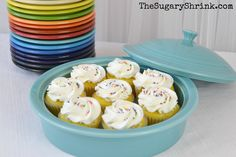 "Vanilla Cupcakes with Rainbow Sprinkles: ""I wanted to show case the many different uses of my Homer Laughlin Fiesta Dinnerware Tortilla Warmer by incorporating desserts into this covered dish.  I'm bonkers about it and think it'll look fantastic on a dessert or buffet table."" 