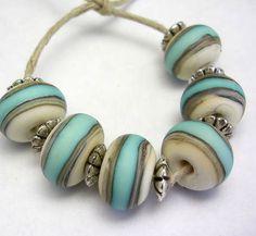 Handmade Lampwork Glass Beads  ivory and turquoise by mermaidglass, $19.00