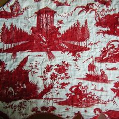 Beautiful Red Beautiran Toile 18th C