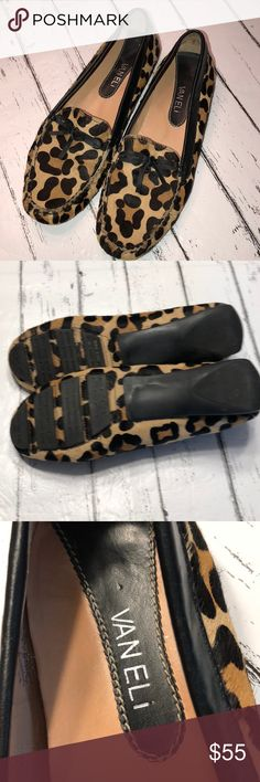Van Eli calf hair leapord print loafers EUC Very clean!! Size 9. Leather and calf hair Vaneli Shoes Flats & Loafers