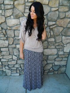 spring outfits. Maxi skirts and big shirts.